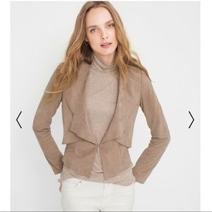 WHBM Flounce-Front Suede Leather Beige Jacket